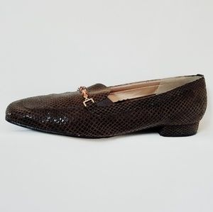 Magdesians snake skin print loafers shoes
